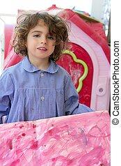 Beautiful preschooler student little artist girl