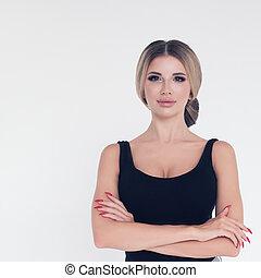 Beautiful pretty blonde woman on white background, fashion portrait