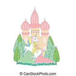 beautiful princess and cute unicorn
