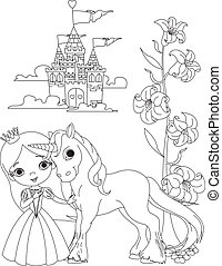 The Beautiful princess and her cute unicorn coloring page