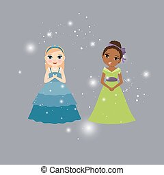 Beautiful princess cartoon characters