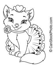 Beautiful Princess Cat Coloring Page