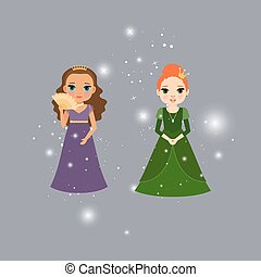 Beautiful princess characters with lights