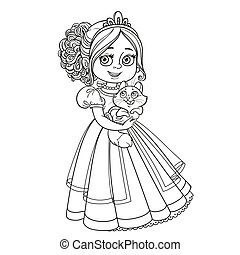 Beautiful princess holding kitten on hands outlined picture for coloring book on white background