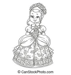 Beautiful princess holding letter in an envelope outlined picture for coloring book on white background