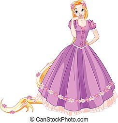 Illustration of beautiful girl dressed up like Rapunzel