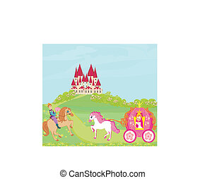 Beautiful princess in a carriage, Prince on horseback and fairy