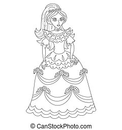 Beautiful princess in elegant dress, coloring book page
