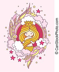 Beautiful princess mermaid with gorgeous golden hair. Little girl, surrounded doodle seaweed, clouds, starfish.