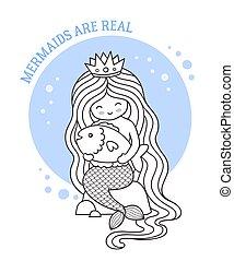 Beautiful princess mermaid with long hair, holding big fish. Siren sitting on a rock.