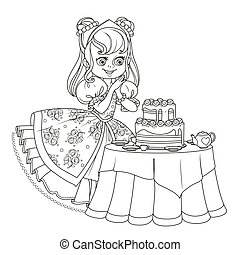 Beautiful princess near the table laid for tea drinking with...