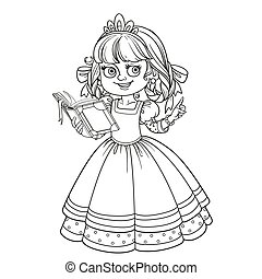 Beautiful princess read book outlined picture for coloring book on white background