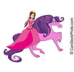 Beautiful Princess riding a fairy-tale horse