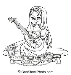 Beautiful princess sits on a bench and plays the lute...