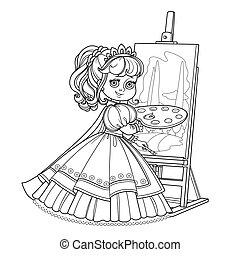 Beautiful princess with a palette, brush and easel outlined picture for coloring book on white background