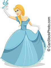 Beautiful Princess with Magic Bird Vector Illustration