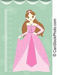 Beautiful princess with meter wall or height meter from 50 to 180 centimeter,Vector illustrations