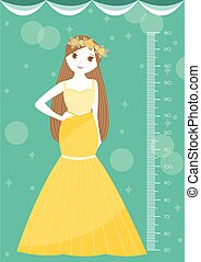 Beautiful princess with meter wall or height meter from fifty to one hundred eighty centimeter,Vector illustrations