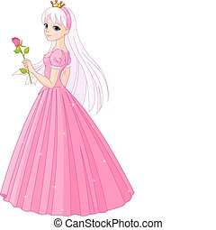 Beautiful princess with rose - Illustration of beautiful...