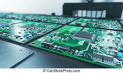 Beautiful Process of Robotic Arm Circuit Board Production on Conveyor Belt. Automated Manufacturing of Electronic Chips.