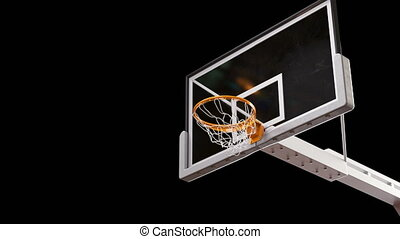 Beautiful Professional Long Throw in a Basketball Hoop Slow Motion. Ball Flies Spinning into Basket Net on Black Background and Green Screen. Sport Concept. 3d Animation Alpha Matte 4k UHD 3840x2160.