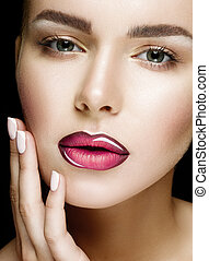 Beautiful Professional Makeup. Pink Lips and Smoky Eyes Make...