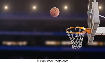 Beautiful Professional Throw in a Basketball Hoop Slow Motion. Ball Flying Spinning into Basket Net at Basketball Court with Spotlights. Sport Concept. 3d Animation 4k Ultra HD 3840x2160.