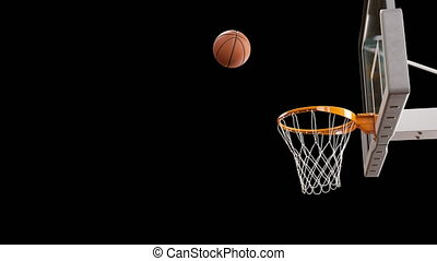 Beautiful Professional Throw in a Basketball Hoop Slow Motion. Ball Flying Spinning into Basket Net on Black Background. Sport Concept. 3d Animation 4k Ultra HD 3840x2160.