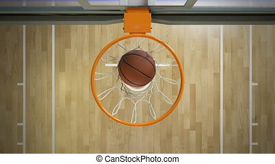 Beautiful Professional Throw in a Basketball Hoop Slow Motion Top View. Ball Flying Spinning into Basket Net. Sport Concept. 3d Animation 4k Ultra HD 3840x2160.