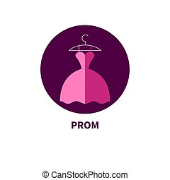Beautiful prom dress, flat icon fashion clothes. Vector...