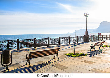 promenade by the sea in the morning