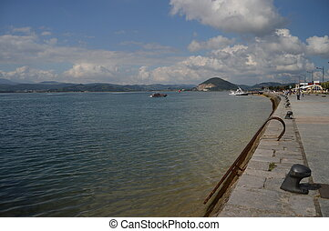 Beautiful Promenade With Views Of The Bay In Santo?a. August 27, 2013. Santonia, Cantabria. Vacation Nature Street Photography.