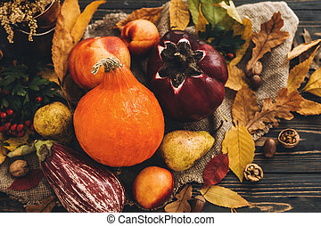 Beautiful Pumpkin, vegetables on bright autumn leaves, acorns, nuts on wooden rustic table. Space for text. Fall season greeting card. Atmospheric Flat Lay. Happy Thanksgiving concept.