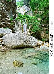 Beautiful pure clean waterfall near Nidri on the island of Lefka