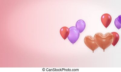 Beautiful purple and Red Flying heart Balloons Loop Animation Alpha Channel. 4k