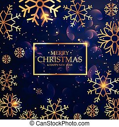 beautiful purple background with golden snowflakes for merry christmas