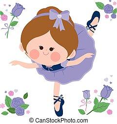 Beautiful purple ballerina girl. Vector illustration