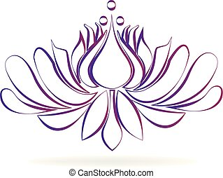 Beautiful purple blossom lotus flower stylized design logo