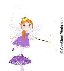 Beautiful purple fairy girl vector background