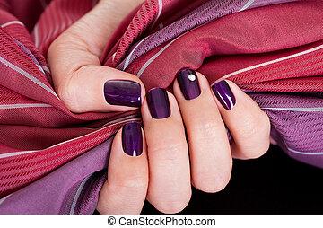 Beautiful purple female nails