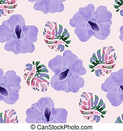 Beautiful Purple orchid flowers and tropical monstera leaves background.