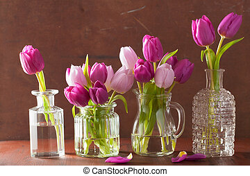 beautiful purple tulip flowers bouquet in vase
