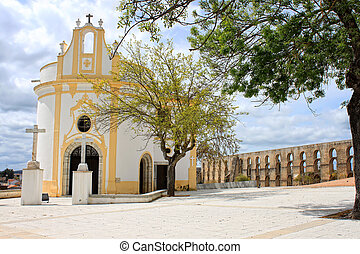 Beautiful quaint church in Elvas - Beautiful white and...