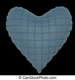 beautiful quilted glossy leather heart shaped pillow. Fashion handmade concept for love, romance, valentines day. rendering, isolated