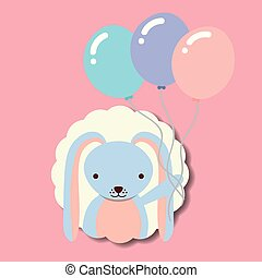 beautiful rabbit with balloons label decoration