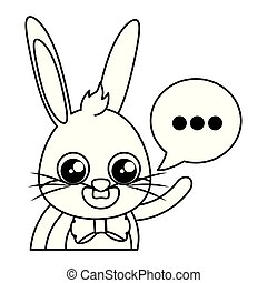 beautiful rabbit with speech bubble easter