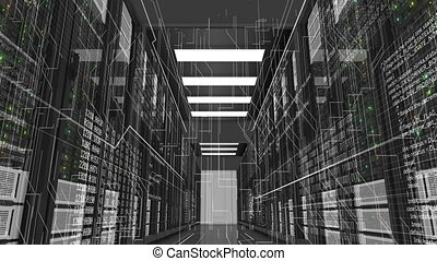 Beautiful Rack Servers Working in Modern Data Center. Cloud Computing Data Storage. Complex Calculations and Digitalization Information. Digital Technology Concept. 3d animation. 4k UHD 3840x2160.