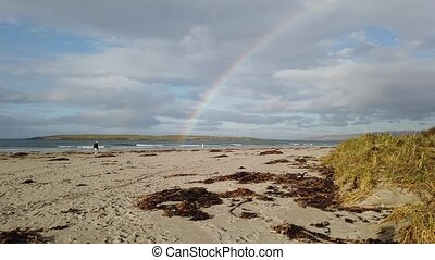 Beautiful rainbow above Inishkeel and Narin beach - Donegal, Ireland.