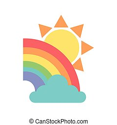 beautiful rainbow and sun nature icons