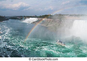 Beautiful rainbow forming near tourist boat at Niagara Falls, Ontario, Canada